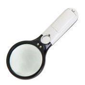 SANNYSIS 45X Handheld 3 LED Light Magnifier Reading Magnifying Glass Lens Jewellery Loupe for School Office Outside