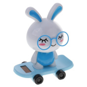 MonkeyJack Lovely Plastic Solar Powered Skateboard Shaking Head Glasses Rabbit Doll Auto Accessories Home/Table Decoration Toy Blue