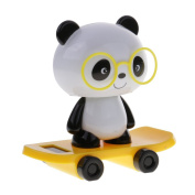 MonkeyJack Adorable Plastic Solar Powered Skateboard Shaking Head Glasses Panda Doll Auto Accessories Home/Table Decoration Toy Yellow