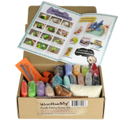 Needle Felting Starter Kit by Woolbuddy – 16 Wool Colours, Felting Foam Mat, 6 Needles, 3 Thimbles & Instruction Manuel – Great for Arts & Crafts, Decorations, Ornaments & Easy for Beginners