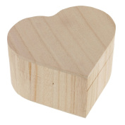 Jili Online Blank Unfinished Heart Shape Wooden Box Gift Jewellery Box DIY Base for Kids Toys Crafts