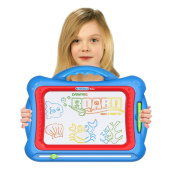 Hosim Magnetic Drawing Board, Erasable Colourful Sketch Magna Doodle for Writing Learning, Drawing Skill Development Education Toys Preschool Tool for Kids Toddlers Babies with 5 Shape Stamps & Sticker