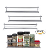 Set of 4 Chrome Wall-Mount Spice Racks – Single Tier Hanging Organisers for Pantry - Over Stove, Kitchen Cupboard and Closet Door Storage – by Unum – 29cm L x 7.6cm D x 5.1cm H