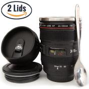 Coffee Mug - Camera Lens Coffee Mug -400ml, SUPER BUNDLE! (2 LIDS + SPOON) Stainless Steel, Travel Coffee Mug, Sealed & Retractable Lids! Camera Mug, Birthday Gifts for Men, by STRATA CUPS