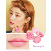 Hunputa Rose Shaped Creamy Matte Lipstick Long Lasting Lip Gloss with a Mirror Inside
