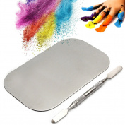 Kangnice Stainless Steel Nail Art Gel Cream Mixing Palette Spatula Cosmetic Makeup Tool