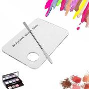 Kangnice Cosmetic Acrylic Makeup Nail Art Polish Mixing Palette Stainless Steel Spatula