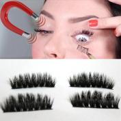 Hot ! 4Pcs (1 Pair) 3D Magnetic Eyelashes Reusable False Magnet Eye Lashes Extension
