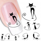 6Sheets 120pcs Cute Cat Designs Nail Art Stickers Water Transfer Decals Nail Tips Toe Decor Tattoo
