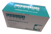 Cotton Carbon Filter Face Mask Filters airborne particles Removes fumes & chemicals Earloop, pleated, 3-ply - 50ct/box