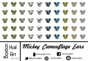 Mickey Camouflage Ears - Waterslide Nail Decals - 50pc