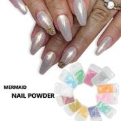 MOPRETTY Mermaid Effect Nail Glitter Polish Sparkly Magic Glimmer Powder Dust DIY Nail Art Tip Decoration Gel UV Nails Art Orange