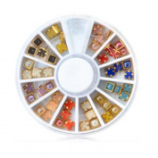 Garrelett Multicoloured 3D Nail Art Gold Edge Pearl Beads Wheels Glitter Decal DIY Stud Set for Nail Art DIY Decoration & Cell Phone