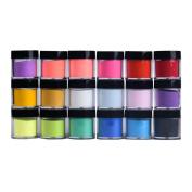 18 Colours Acrylic Nail Art Tips UV Gel Powder Dust Design Decoration 3D Manicure