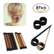 Bun Maker, ESARORA 8 PCS Hair Styling Maker DIY Women Girls Perfect Hair Bun Making Styling French Twist Donut Bun Hairstyle Tool