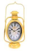 Alpine Indoor Accents 30cm Rustic Railroad Hurricane Lantern Table Clock - Yellow