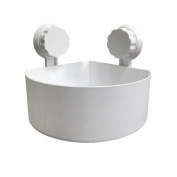 Nesee Bathroom Kitchen Corner Shower Shelf Plastic Suction Cup Organiser Storage Rack