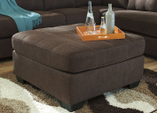 Maier Contemporary Walnut Colour Fabric Oversized Accent Ottoman