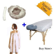 10 Disposable Bed Cover + 100 Bouffant Caps + 10 Disposable Client Wrap Bundle by Gold Cosmetics & Supplies