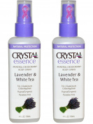 CRYSTAL Lavender & White Tea Crystal Essence Body Spray (Pack of 2) with Potassium Alum (a Natural Mineral Salt) and Natural Preservatives, Contains No Harmful Chemicals, 120ml