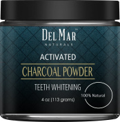 Activated Charcoal Teeth Whitening Activated Charcoal Powder from Del Mar Naturals, 120ml, Natural Teeth Whitener