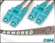 7M OM4 LC LC Armoured Duplex Fibre Patch Cable 100G Multimode 50/125