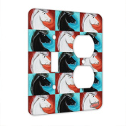 2 Gang Single Toggle / Single Duplex Wall Plate - White Andalusian Stallion Abstract Horse Pattern Art by Denise Every