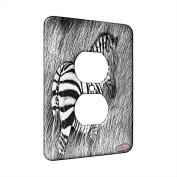 1 Gang AC Outlet Wall Plate - Zebra in Tall Grass Art by Denise Every