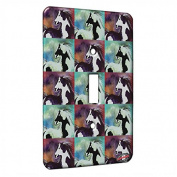 Single Gang Toggle Switch Wall Plate - Abstract Pinto Mustang in Purple with Pink and Gold Horse Pattern Art by Denise Every