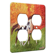 2 Gang AC Outlet Wall Plate - Red Roan Mare and Black Pinto Foal Horse Art by Denise Every