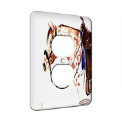 1 Gang AC Outlet Wall Plate - Sorrel Leopard Appaloosa Western Tack Horse Art by Denise Every