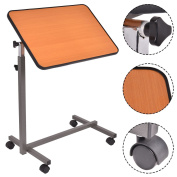 Asomie Rolling Overbed Table Over Bed Laptop Table Food Tray Hospital Desk With Tilting Top