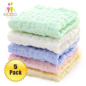 5 Pack Baby Muslin Washcloths and Towels for Sensitive Skin - Natural Organic Cotton Baby Wipes and Soft Towel for Face, Hands and Body - Baby Registry as Shower Gift