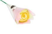 Couture Towel CT-HGSR001501 22cm x 22cm . Single Rose Towel44; Honey Yellow
