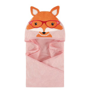 Hudson Baby Girls Animal Face Hooded Towel 100% Cotton 80cm x 80cm Pink Foxy