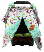 Dear Baby Gear Car Seat Canopy, Bright Feathers on White, Mint Minky