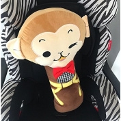 Cute Seatbelt Pillow,Car Seat Belt Covers for Kids,Adjust Vehicle Shoulder Pads,Safety Belt Protector Cushion,Plush Soft Auto Seat Belt Strap Cover Headrest Neck Support for Children Baby - Monkey