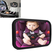 Baby Car Mirror For Back Seat - GOSE Baby Mirror For Rear Facing Car Seats, Safety Certified & Crash Tested, Shatterproof, 360 Adjustable & Double Straps, Essential Accessory For Travel