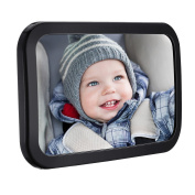 Back Seat Mirror - Banaroo Baby Car Mirror, Large Clear Rear Facing Baby View Mirrors For Car Seats, Shatterproof Glass and Fully Assembled - Crash Tested and Certified for Safety.