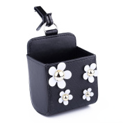 Car Air Vent Storage Bag Sunflower PU Leather Auto Outlet Cell Phone Holder Case Organiser