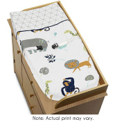 Turquoise and Navy Blue Safari Animal Changing Pad Cover for Mod Jungle Collection by Sweet Jojo Designs