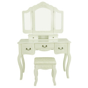 Super Deal Bedroom Vanity Dressing Table Set Makeup Desk With Stool & Tri Mirror 5 Drawers, White
