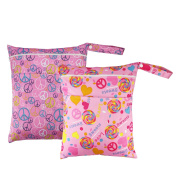 2pcs Baby Wet and Dry Cloth Nappies Wet Bags Waterproof Reusable with Two Zippered Pockets