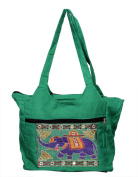 Green Traditional Ethnic Elephant Embroidered Rajasthani Bag Ladies Cotton Handbag Purse