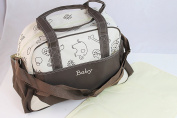 Multifunctional Stroller Waterproof Baby Nappy Nappy Changing Bag Mummy Handbag Tote Shoulder Bag Ivory