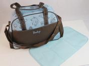 Multifunctional Stroller Waterproof Baby Nappy Nappy Changing Bag Mummy Handbag Tote Shoulder Bag Blue