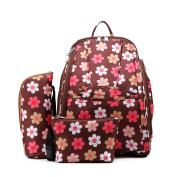 Floral Nappy Bag, Large Baby Nappy Bags Polyester Backpack with Stroller Straps Flower Brown