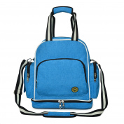 Baby Nappy Bag Organiser Travel Shoulder Backpack with Changing Pad/Stroller straps/Insulated Bottle Bag Sky Blue