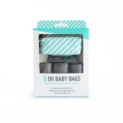 Oh Baby Bags Nappy Bag Clip-On Dispenser Gift Box with Disposable Bags for Dirty Nappies - Recycled Plastic - Seafoam with White Stripes Duffle plus 48 Grey Unscented Bags