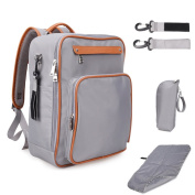Lmeison Nappy Bag Backpack With Stroller Straps Insulated Bag Changing Pad, Multi-Function Waterproof Travel Backpack Nappy Bags for Baby Care, Large Capacity, . and Durable - Grey